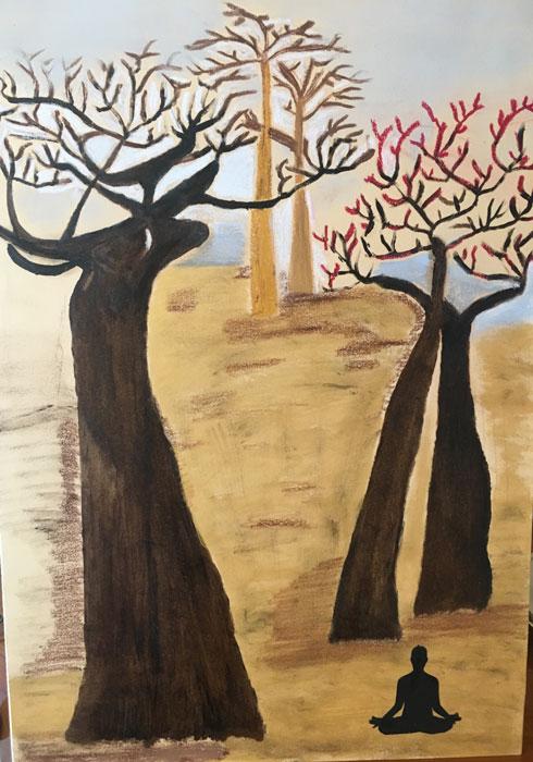 Baobab - Disegni su carta 35x55 carboncino olio acrilico
