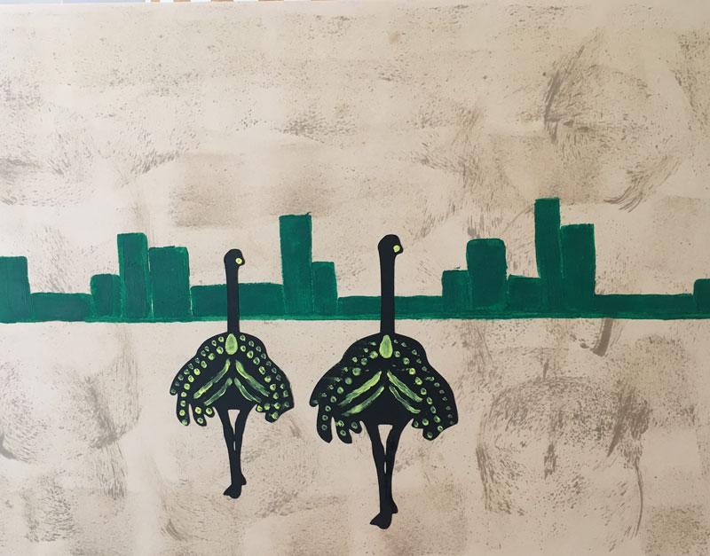 Civiltà - Disegno su carta carboncino bitume olio acrilico