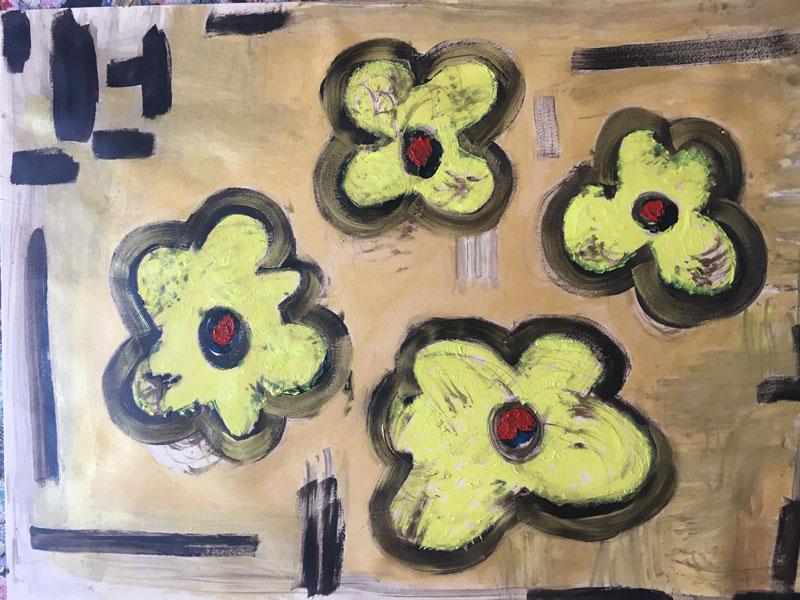 Fiori Gialli - Disegno su carta carboncino bitume olio acrilico