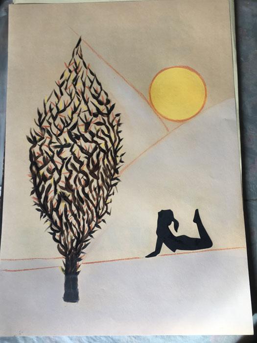 Yoga 1 - Disegni su carta 35x55 carboncino olio acrilico