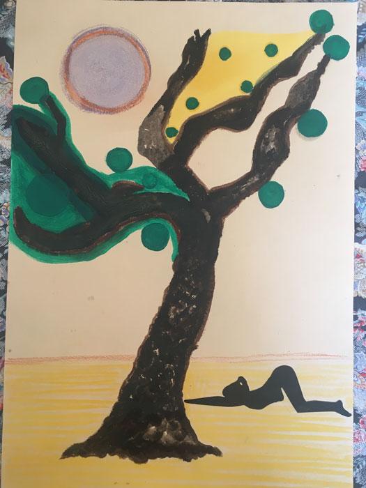 Yoga 2 - Disegni su carta 35x55 carboncino olio acrilico