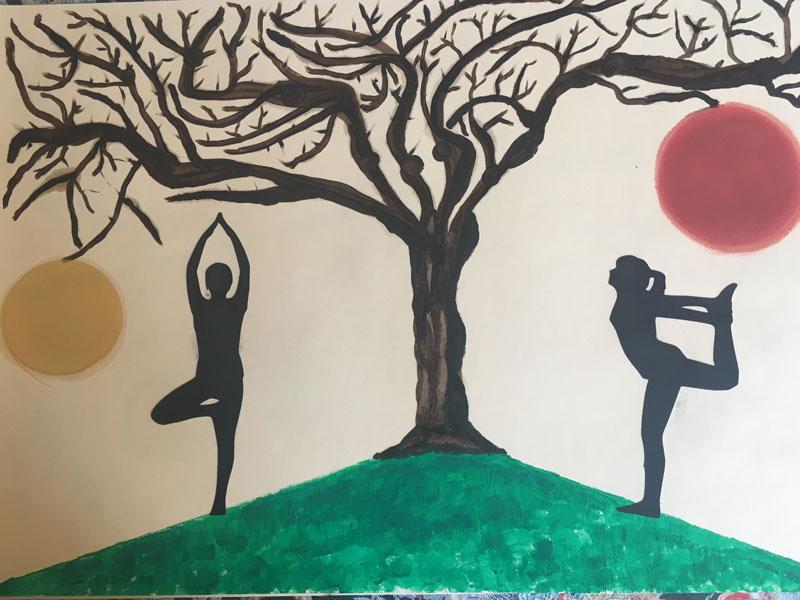 Yoga 3 - Disegni su carta 35x55 carboncino olio acrilico
