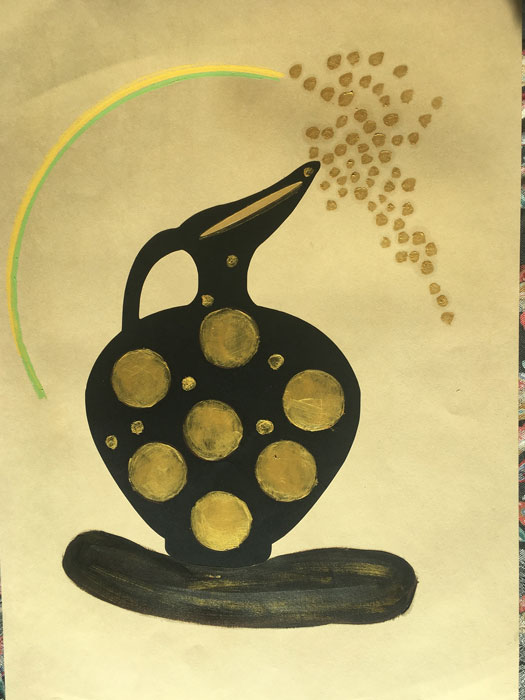 Magia - Disegno su carta carboncino bitume olio acrilico