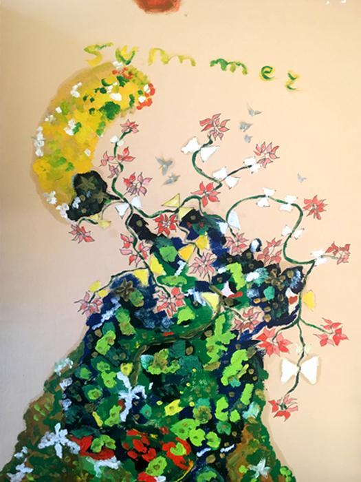Summer - Olio su carta 35x50 - Montato su tela di lino