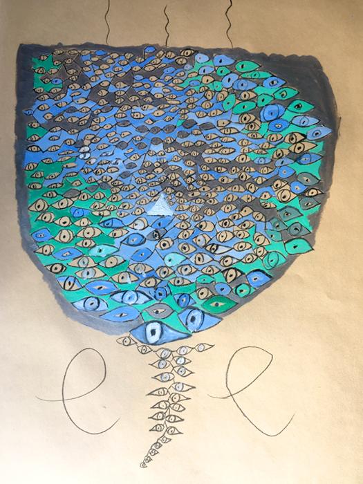 Eye - Olio su carta 35x50 - Montata su tela di lino