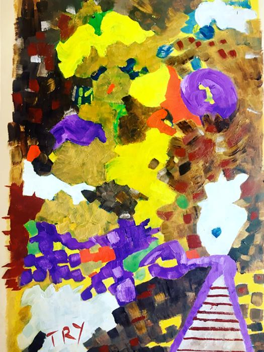 Tray - Olio su carta 35x50 - Montata su tela di lino